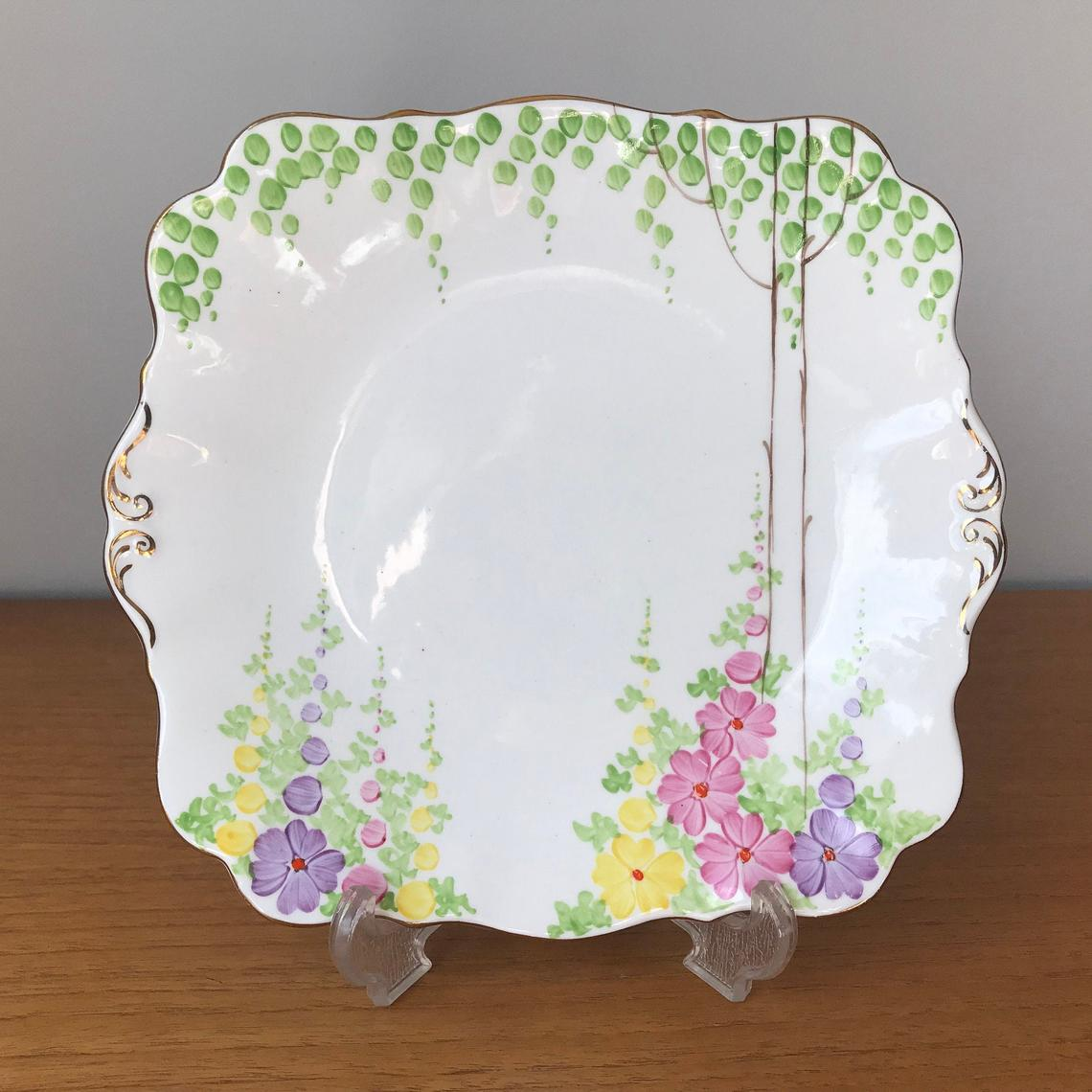 Royal Standard Tray, Small Serving Tray, Hand Painted Flowers and Trees Bone China Plate, 1930s - 1940s