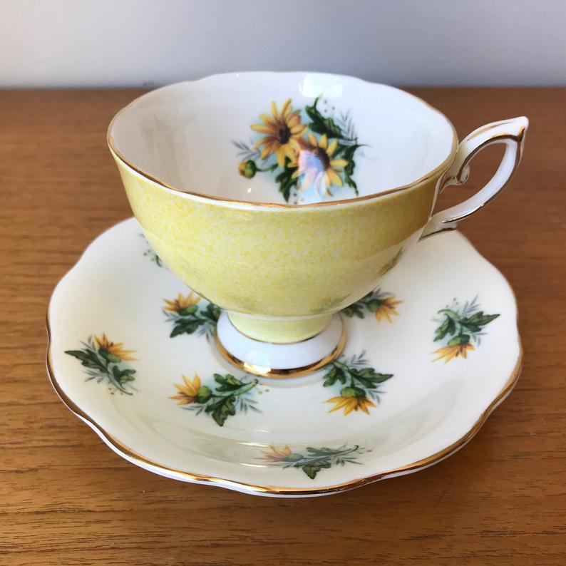 Royal Standard Yellow Tea Cup and Saucer, Brown Eyed Susan Teacup and Saucer, Bone China