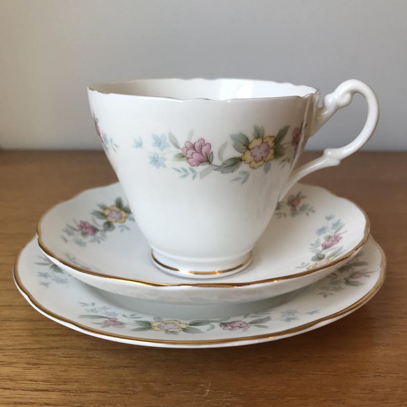 Royal Stuart China Trio, Floral Tea Cup Saucer and Plate set