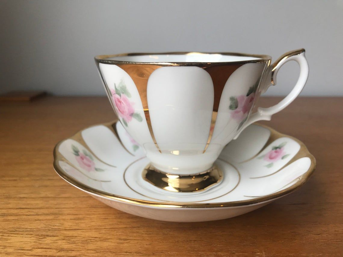 Royal Vale Gold Tea Cup and Saucer, Pink Rose Teacup and Saucer, Bone China, Gift for Wife