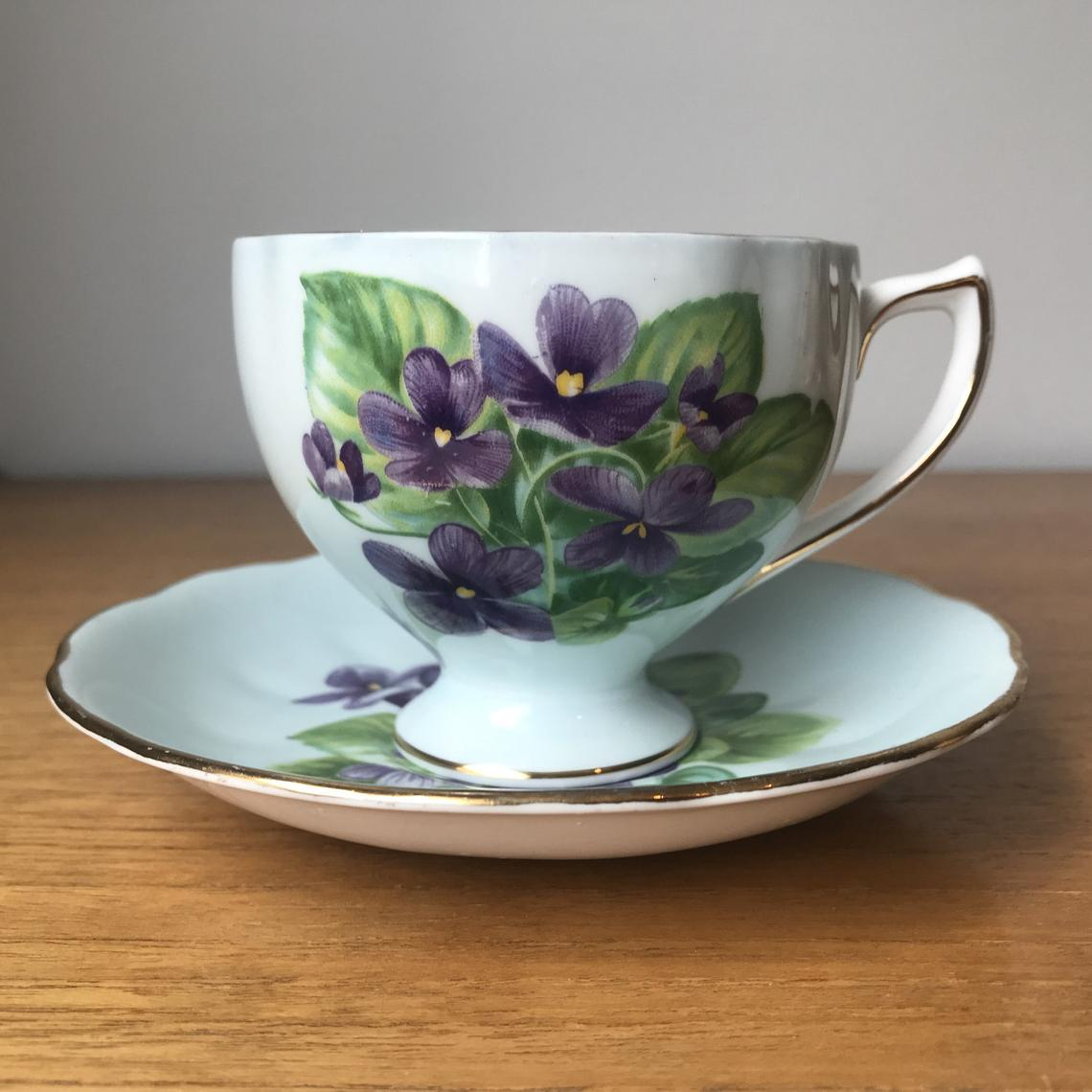 Royal Vale Pale Blue Teacup and Saucer, Purple Violets Tea Cup and Saucer