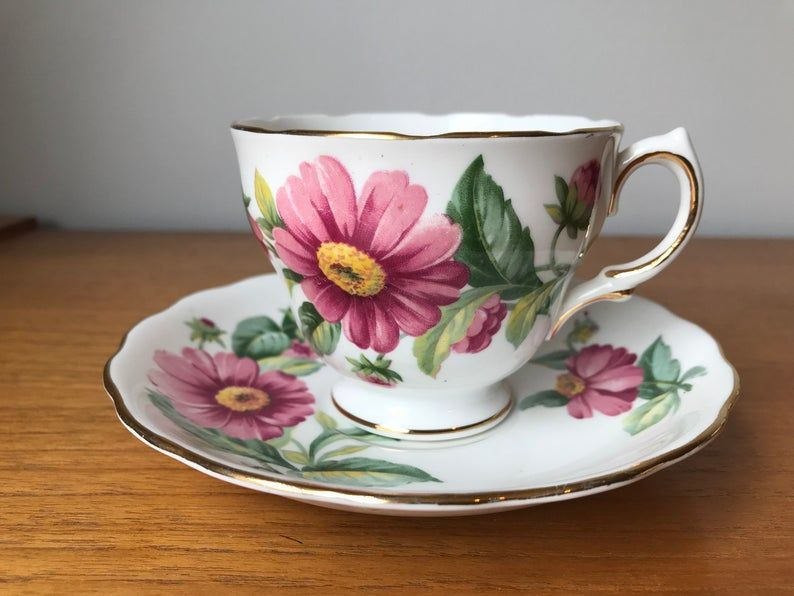 Royal Vale Tea Cup and Saucer, Pink Daisy Flower Teacup and Saucer, Vintage Bone China