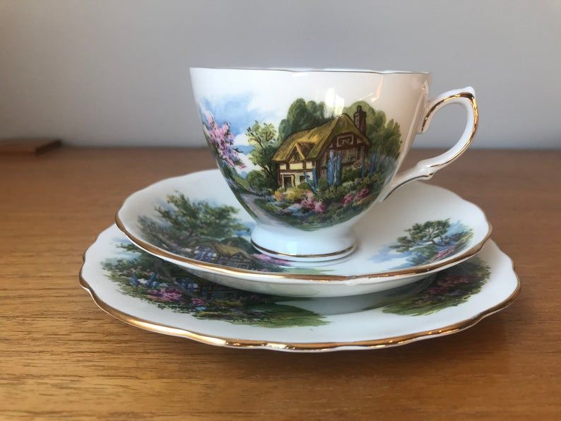 Royal Vale Trio, Teacup Saucer and Plate set, Country Cottage Scene Tea Cup Trio, Fine Bone China, 7382