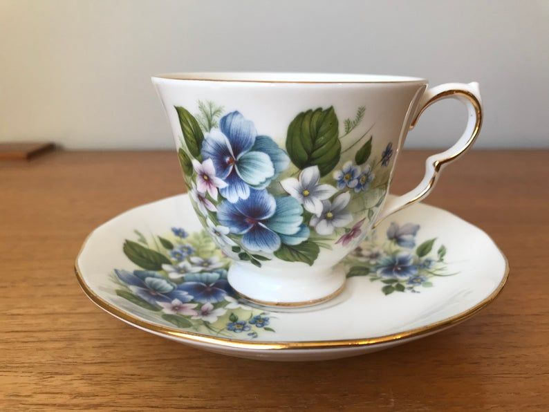 Royal Vale Vintage Blue Pansy Teacup and Saucer, Flower Tea Cup and Saucer, English Floral China, Garden Tea Party, 1960s