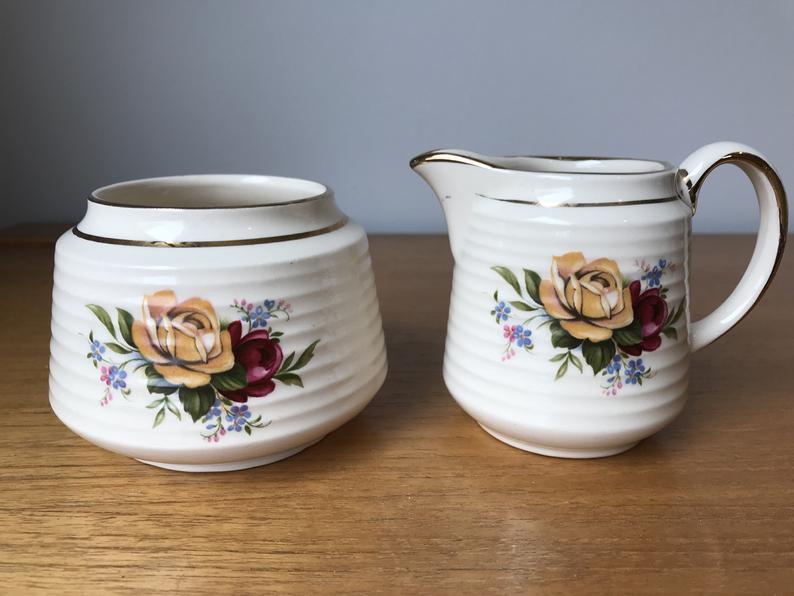 Sadler Rose Cream and Sugar set, Yellow and Red Rose Flower Creamer with Sugar Bowl, Vintage English Floral Milk Pitcher