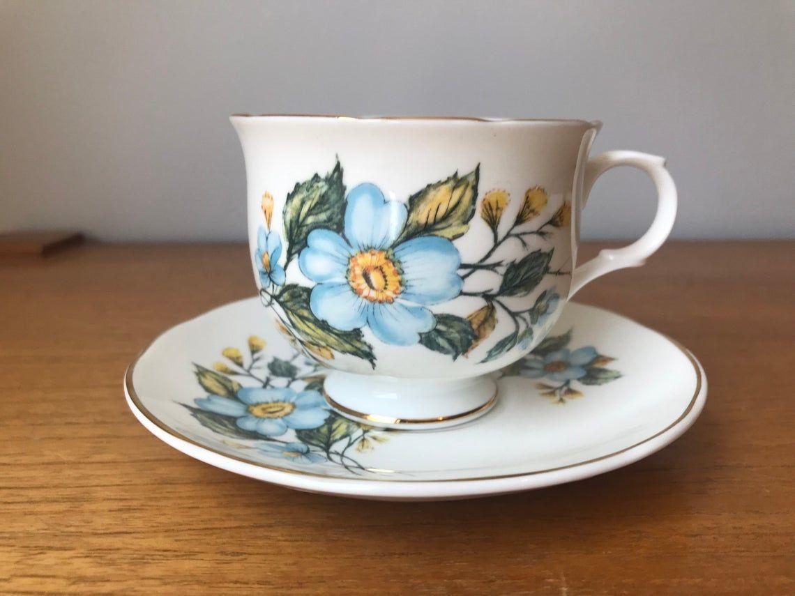 Sadler Tea Cup and Saucer Blue and Yellow Flower Teacup and Saucer set, Bone China Sadler Wellington