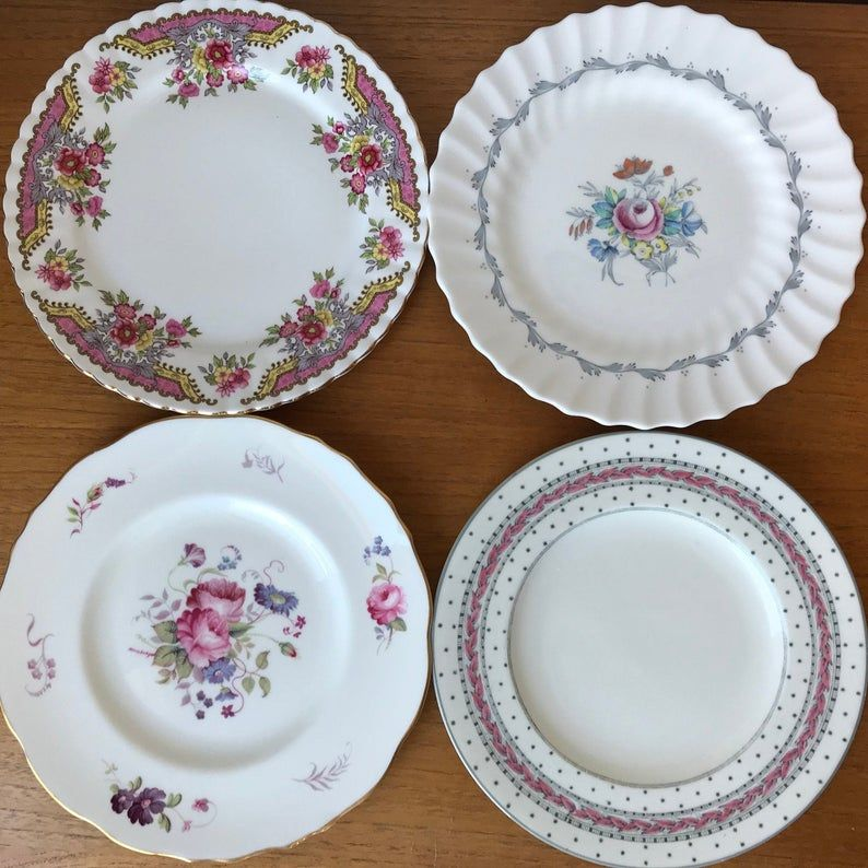 Salad Plate Set of Four, Mismatched China Plates, Pink Purple and Grey Floral Vintage Dinnerware, 8 inch