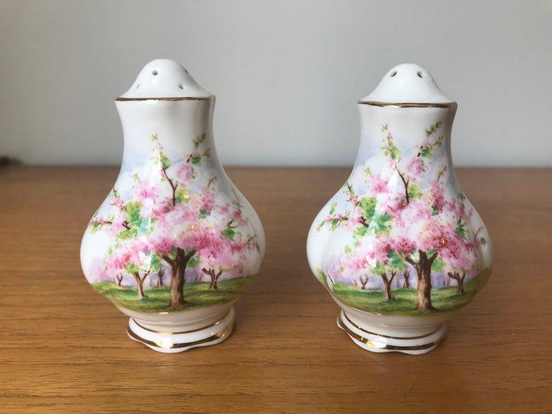 Salt and Pepper Shakers, Royal Albert Blossom Time China Salt and Pepper Shakers