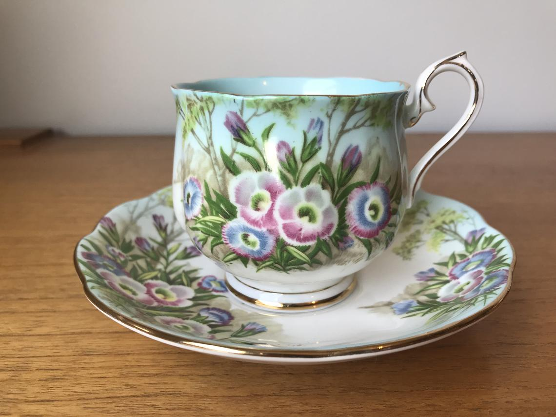 Scenic Royal Albert Vintage Teacup and Saucer, Fringed Gentian Flowers Trees Tea Cup and Saucer, Blue Ombre Hampton Shape Bone China