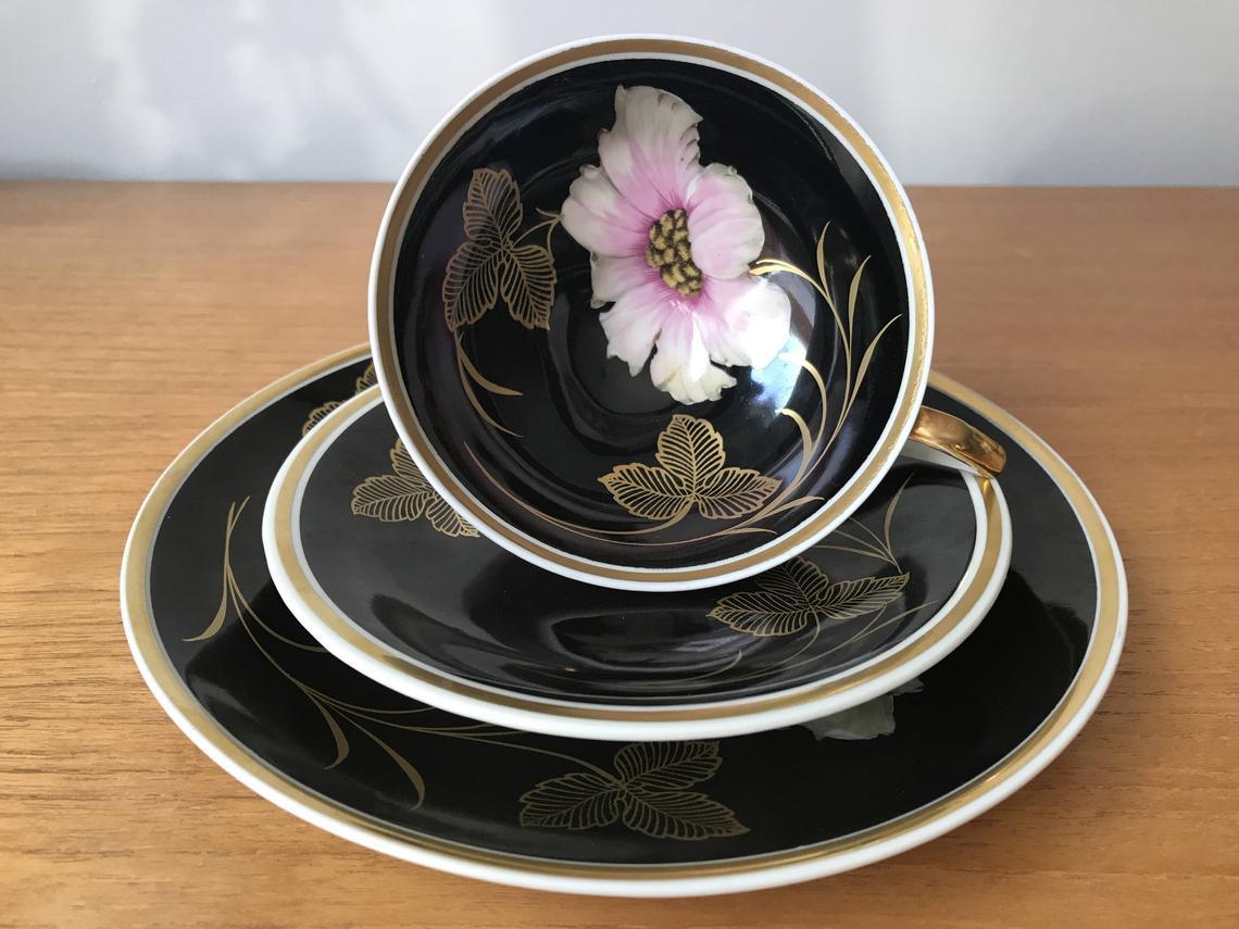 Schwarzenhammer Vintage Tea Cup Trio, Pink Flower Gold Leaf Black Teacup Saucer Plate set, Porcelain China Floral Teacup Trio with Feet