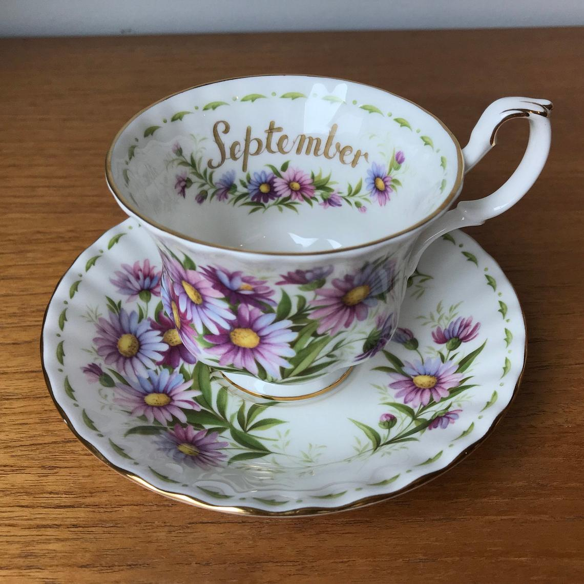 September Flower of the Month Series Royal Albert Michaelmas Daisy Vintage Teacup and Saucer, Purple English China Tea Cup, and Saucer