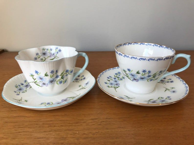 Shelley China Blue Rock Teacups and Saucers, Pair of Vintage Tea Cups and Saucers, Blue Flowers Bone China