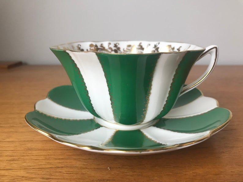Shelley Green and White Stripes Tea Cup and Saucer, Fine Bone China Vintage Teacup and Saucer