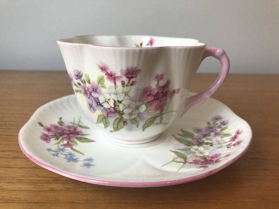 Shelley Stocks Dainty Vintage Teacup and Saucer, Pink and Purple Flower Tea Cup and Saucer, English Floral Bone China, Garden Tea Party