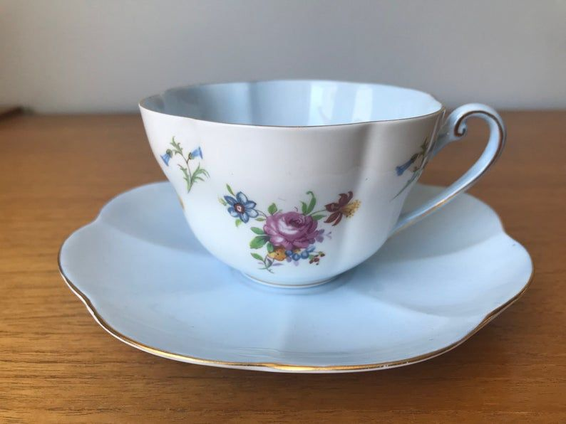 Shelley Vintage Tea Cup and Saucer, Pale Blue Interior Floral Teacup and Saucer, Shelley China