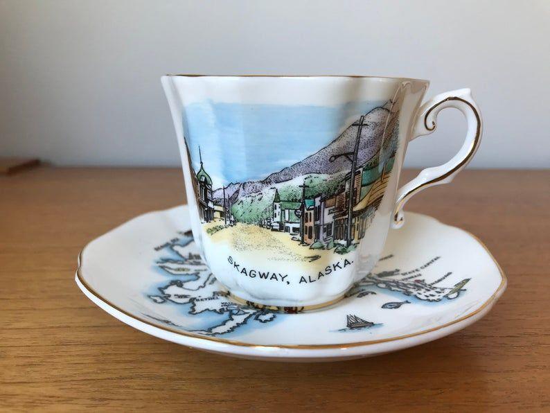 Skagway Alaska Souvenir Cup and Saucer, Vintage Royal Consort China Teacup and Saucer