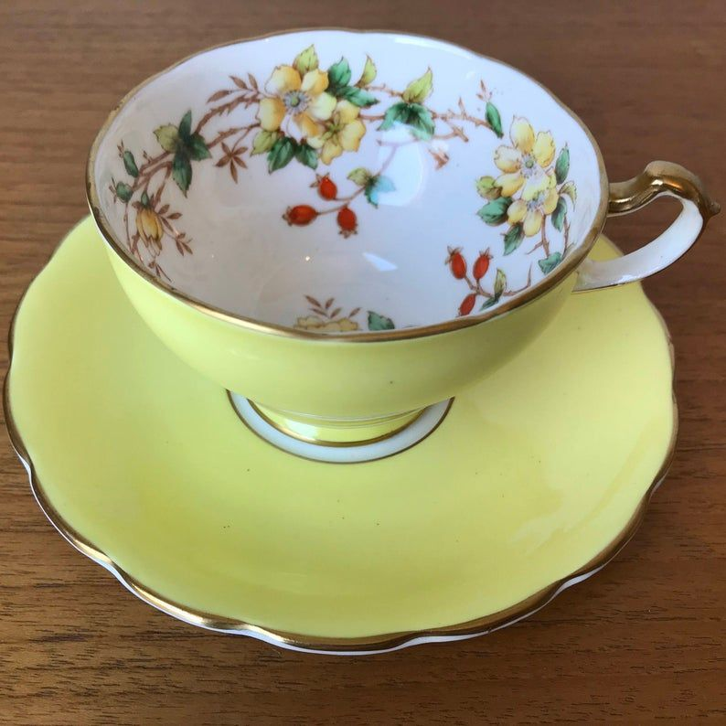 Staffordshire Vintage Teacup and Saucer, Bright Yellow Orange Floral Tea Cup and Saucer, English Bone China