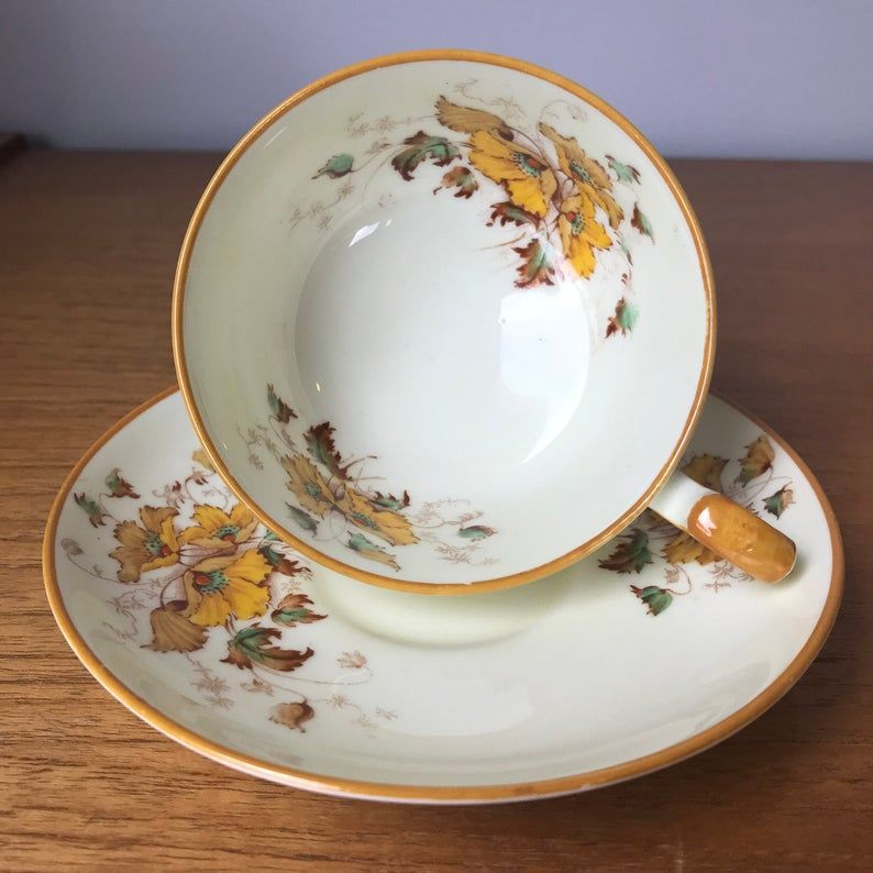 Star Paragon Tea Cup and Saucer, Yellow Flower Teacup and Saucer, Vintage Bone China
