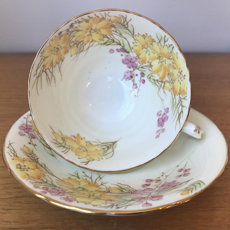 Sutherland Tea Cup and Saucer, Pink and Yellow Floral Teacup and Saucer, Bone China 1940s Flowers and Branches