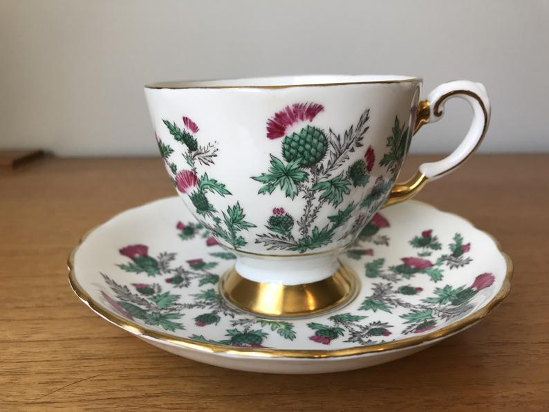Thistle Tea Cup and Saucer, Tuscan China Teacup and Saucer, Vintage Bone China Cup