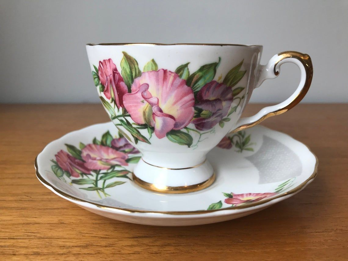Tuscan Birthday Flowers April's Sweet Pea China Tea Cup and Saucer, Pink and Purple Sweet Peas Teacup and Saucer, Flower of the Month