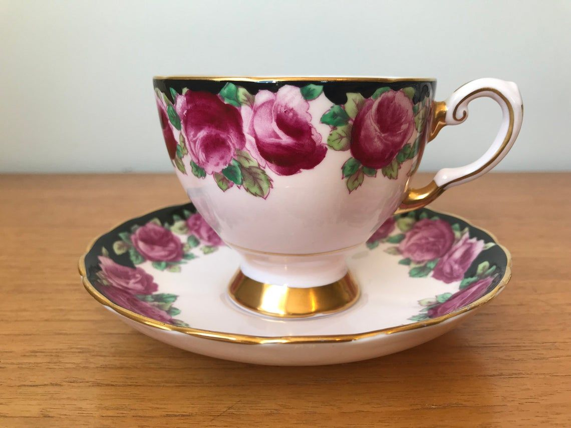 Tuscan Black and Pink Tea Cup and Saucer, Pink Rose Teacup and Saucer, Hand Painted Bone China, Garden Tea Party