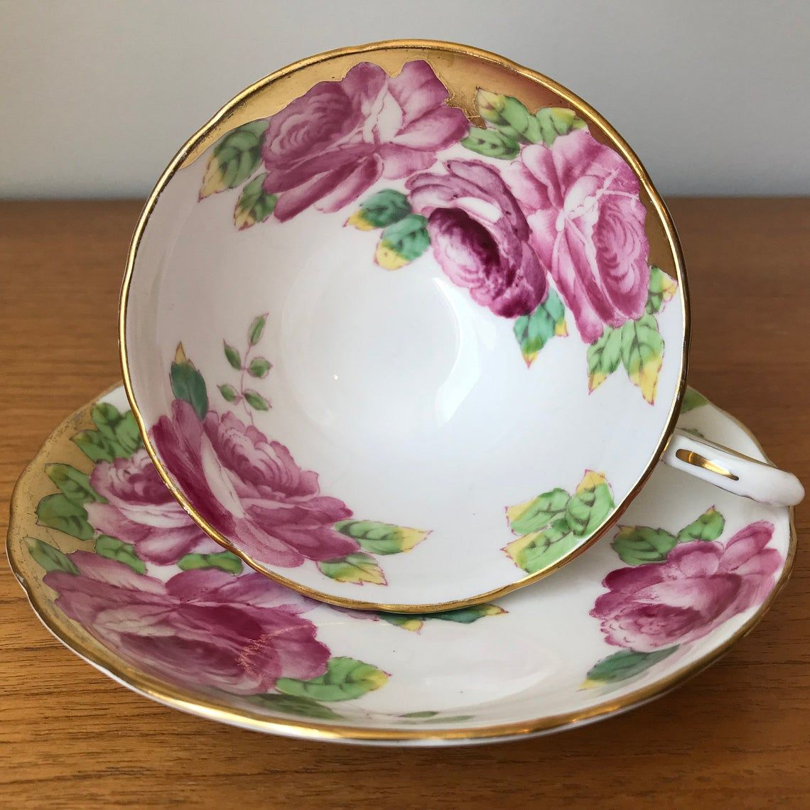 Tuscan Bone China Hand Painted Rose Tea Cup and Saucer, English Floral Teacup and Saucer