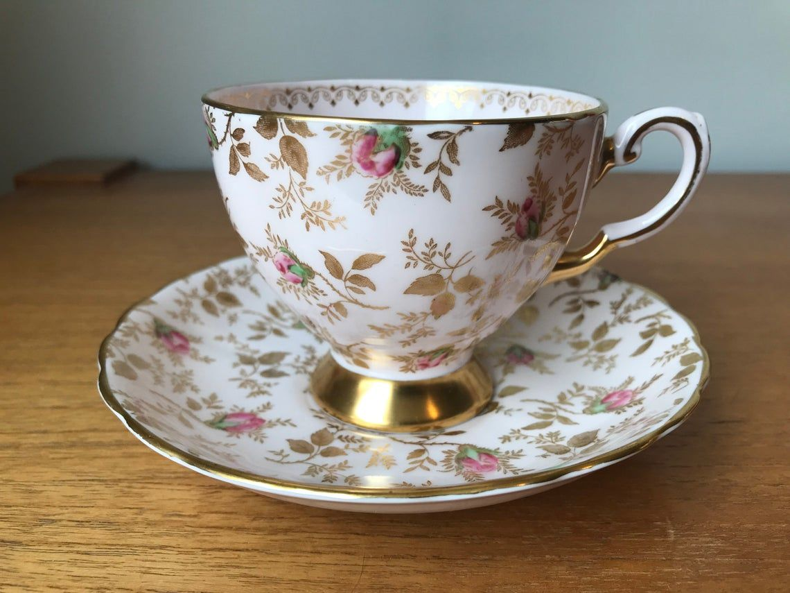 Tuscan China Tea Cup and Saucer, Fancy Gold Chintz and Pink Rose Teacup and Saucer