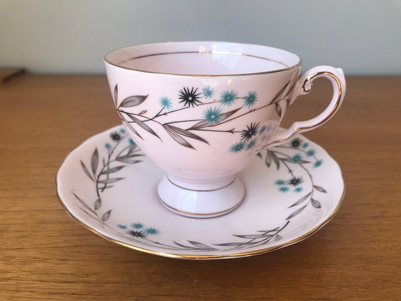 Tuscan China Tea Cup and Saucer, Pale Pink Southern Star Teacup and Saucer, Blue and Black Star Pattern Bone China