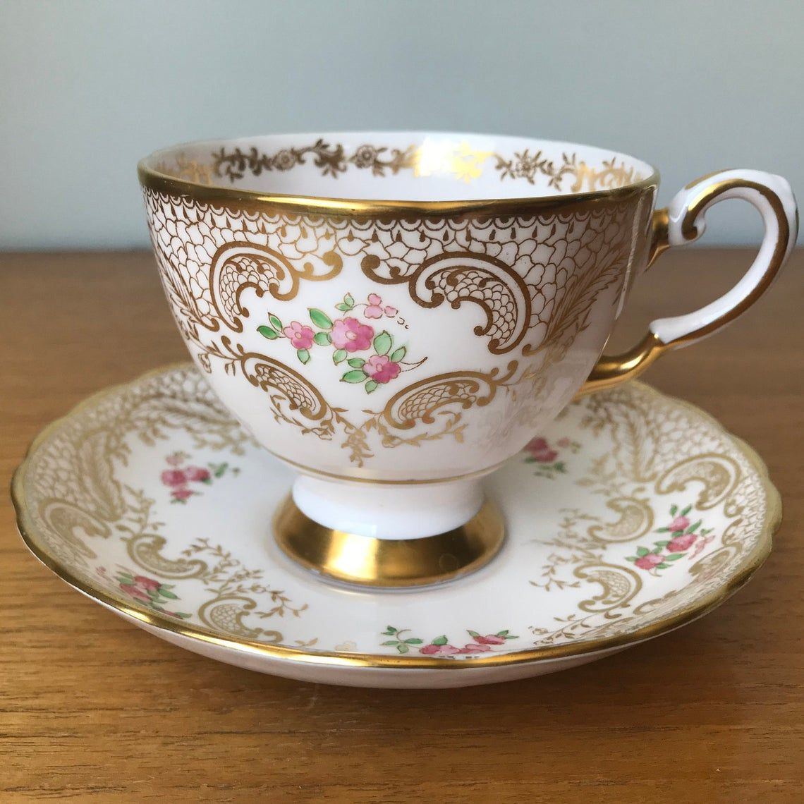 Tuscan China Teacup and Saucer, Pastel Pink Teacup and Saucer with Gold Lace Overlay with Hand Painted Flowers, Bone China