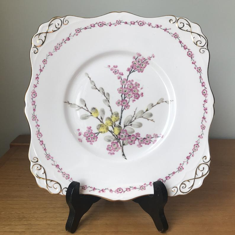 Tuscan China Tray, Pink Serving China Dish April Beauty Flowers Pussy Willows Cake Plate