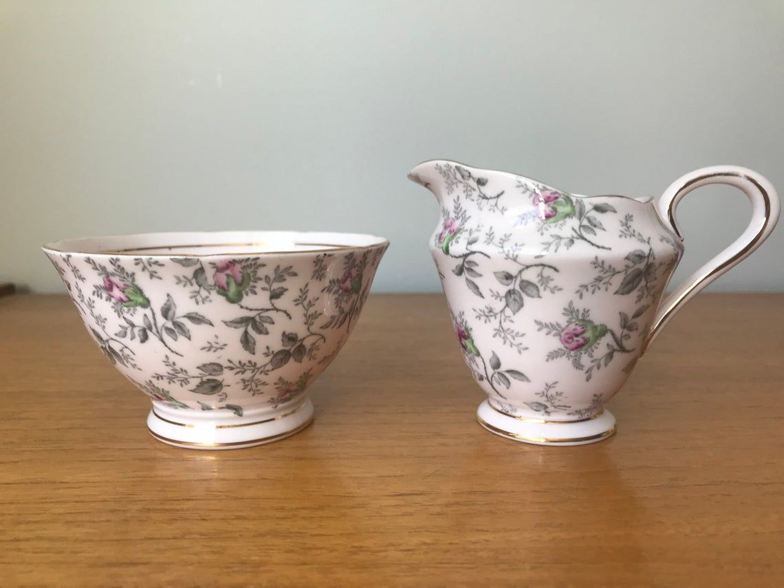 Tuscan Cream and Sugar set, Pale Pink China with Grey Transferware and Dark Pink Roses, Creamer and Sugar Bowl