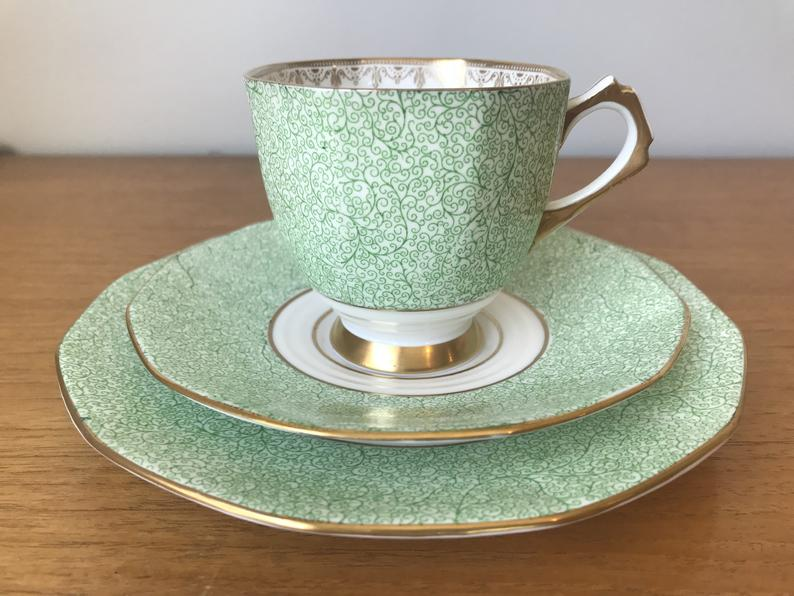 Tuscan Plant Tea Cup Trio, Vintage Green Transferware Swirl Teacup Saucer and Plate, Bone China Tea Cup and Saucer with Side Plate