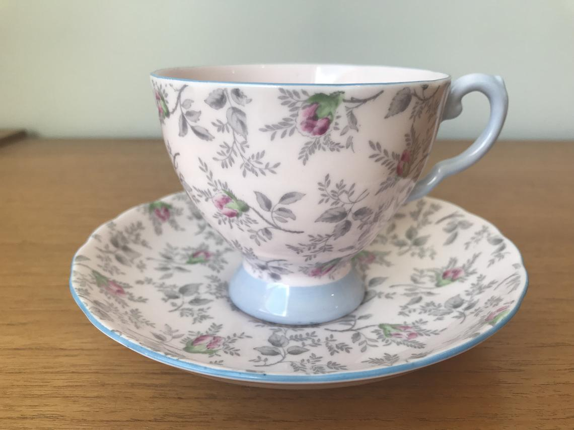 Tuscan Vintage Teacup and Saucer, Light Pastel Pink Tea Cup and Saucer, w/ Grey Leaves Pink Rose Chintz Light Blue Trim, English Bone China