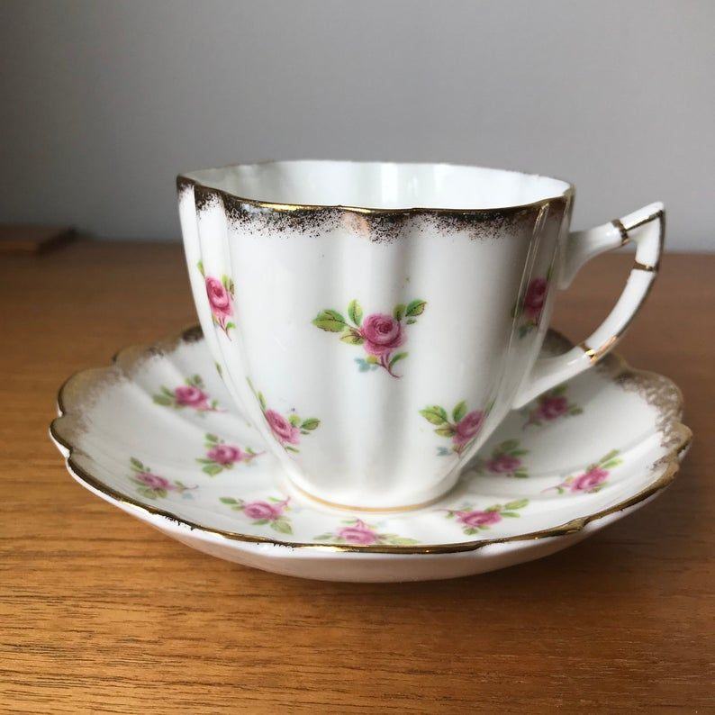 Victoria C & E China Tea Cup and Saucer, Little Pink Rose Teacup and Saucer, Brushed Gold Trim, Bone China