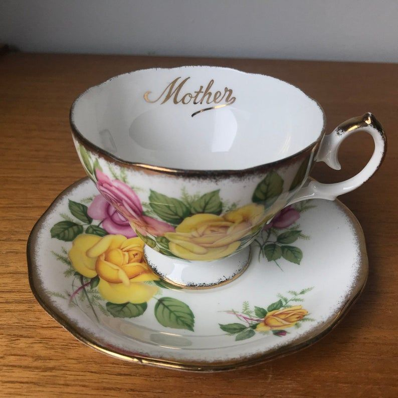 Vintage Bone China Mother Tea Cup and Saucer, Queen Anne Pink and Yellow Rose Teacup and Saucer