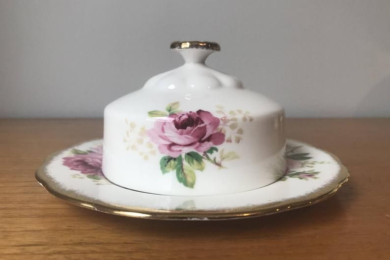 Vintage Butter Dish, Royal Albert American Beauty Butter Dish, Pink Roses Bone China Butter Lid and Plate