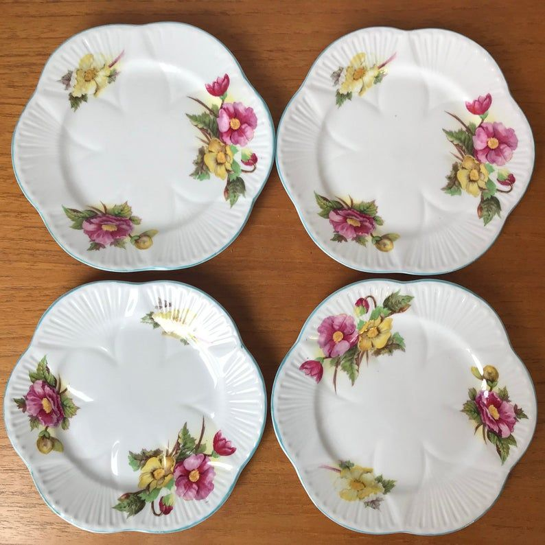 Vintage China Plates, Shelley Begonia Flower Dainty Plates, Blue Trim Yellow and Pink Flowers