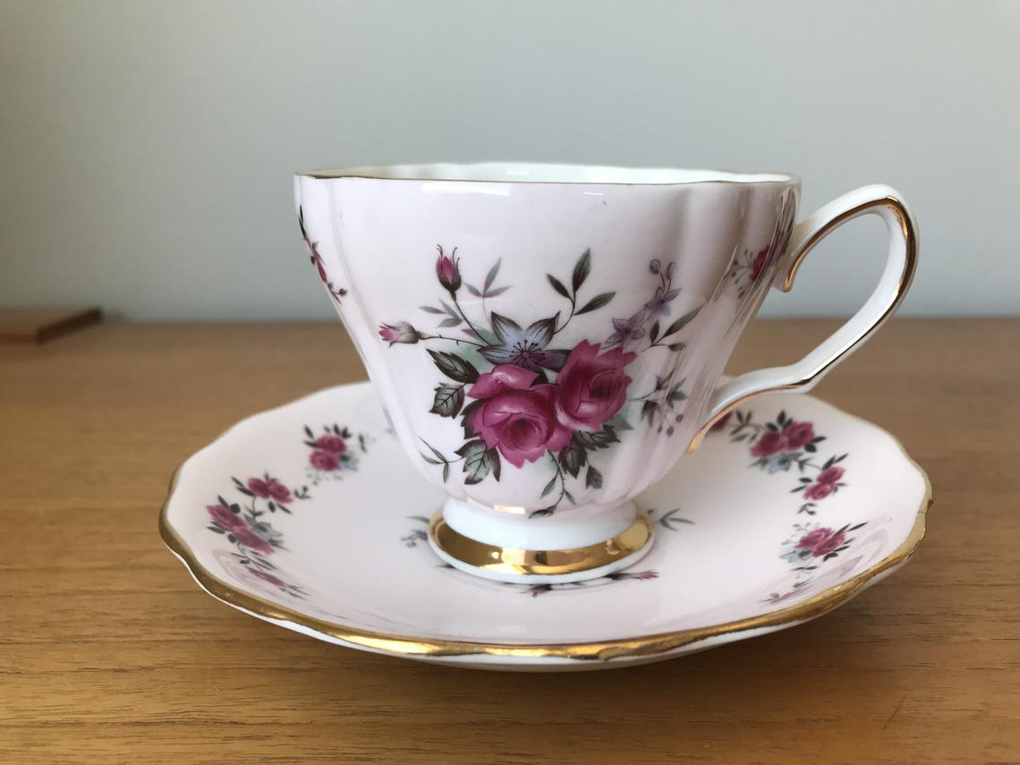 Vintage Colclough Pink Tea Cup and Saucer, Pink Roses Bone China Teacup and Saucer 8180