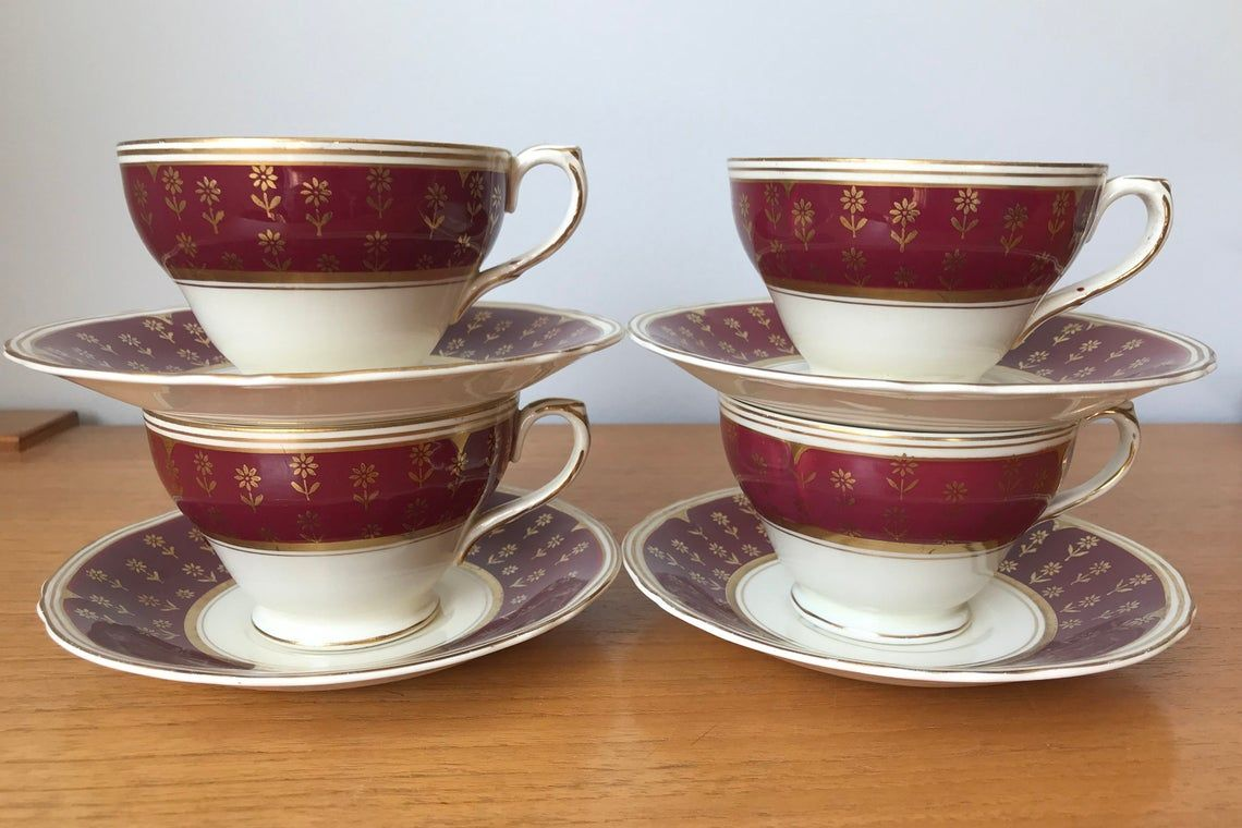 Vintage Cups and Saucers, Red and Gold Teacups and Saucers, W H Grindley and Co. Cream Petal Astra No. 3