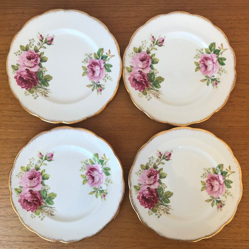 Vintage Dessert Plates, Royal Albert American Beauty Plates, Tea Plates, Luncheon Plates, Pink Rose Bone China