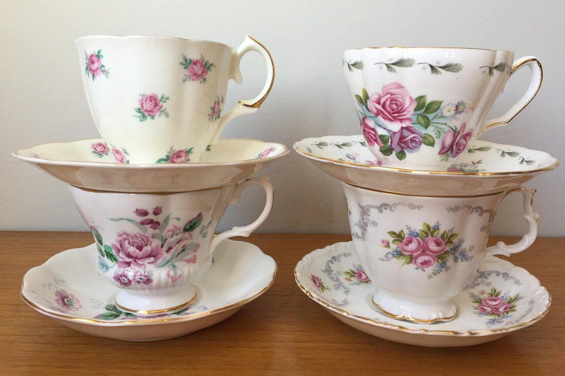 Vintage Mismatched Tea Set, Pink and Purple Flower Rose Tea Cups and Saucers, Floral China Teacups, Set of Four, Garden Tea Party