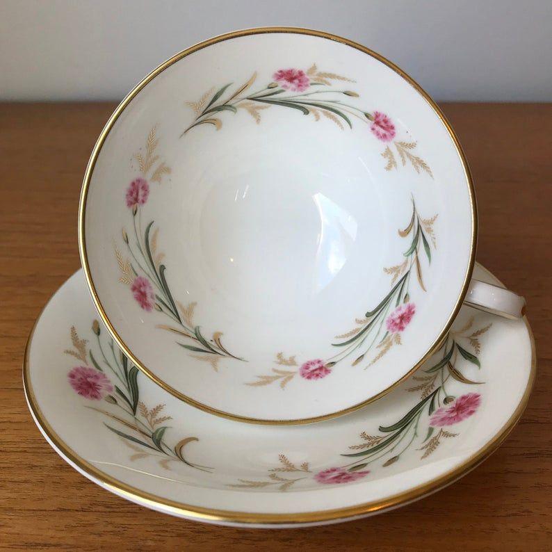 Vintage Paragon Camelot Tea Cup and Saucer, Pink Carnation Flower Teacup and Saucer Bone China