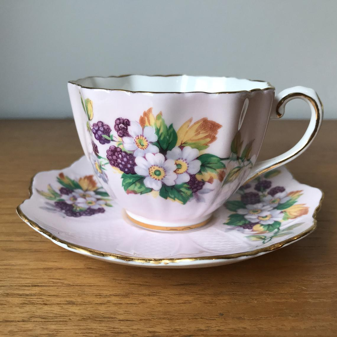 Vintage Paragon Pink Tea Cup and Saucer, Berries and Flowers Embossed Teacup and Saucer 1960s