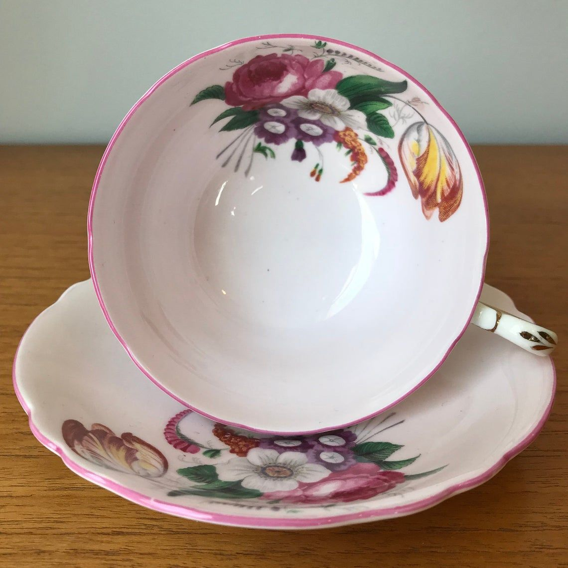 Vintage Paragon Pink Teacup and Saucer, Tulip and Rose Tea Cup and Saucer, English Floral Bone China, Double Warrant, 1940s
