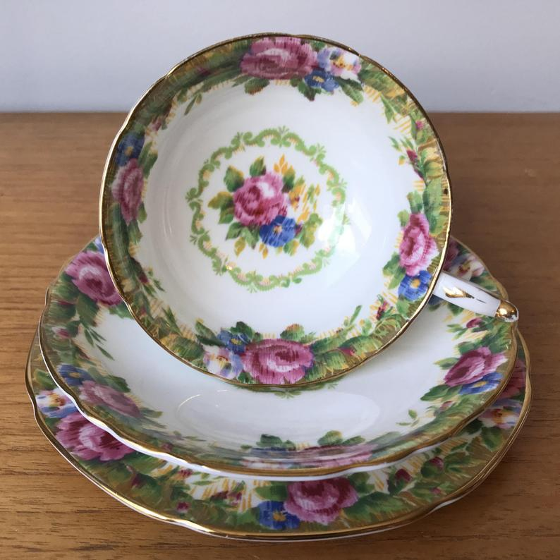 Vintage Paragon Tapestry Rose Wide Tea Cup Saucer and Plate, Pink Roses Teacup Trio, Bone China, Garden Tea Party