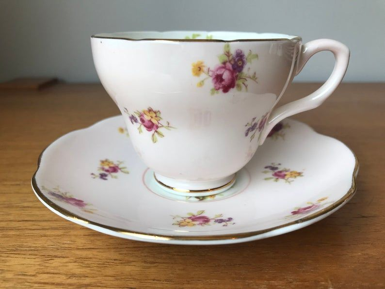 Vintage Pink Tea Cup and Saucer, E B Foley Floral Bone China Teacup and Saucer