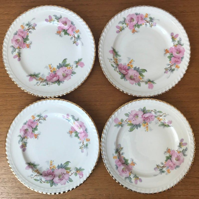 Vintage Plates, Sovereign Potters Canada Plate set, Pink Flower Blossom Plates