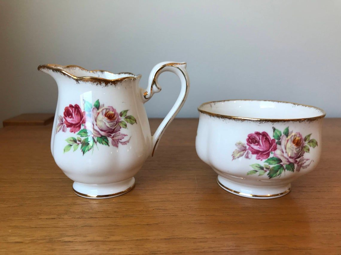 Vintage Royal Albert Cream and Sugar set, Pink Roses Creamer and Sugar Bowl, Un Named Pattern, Bone China Milk Pitcher