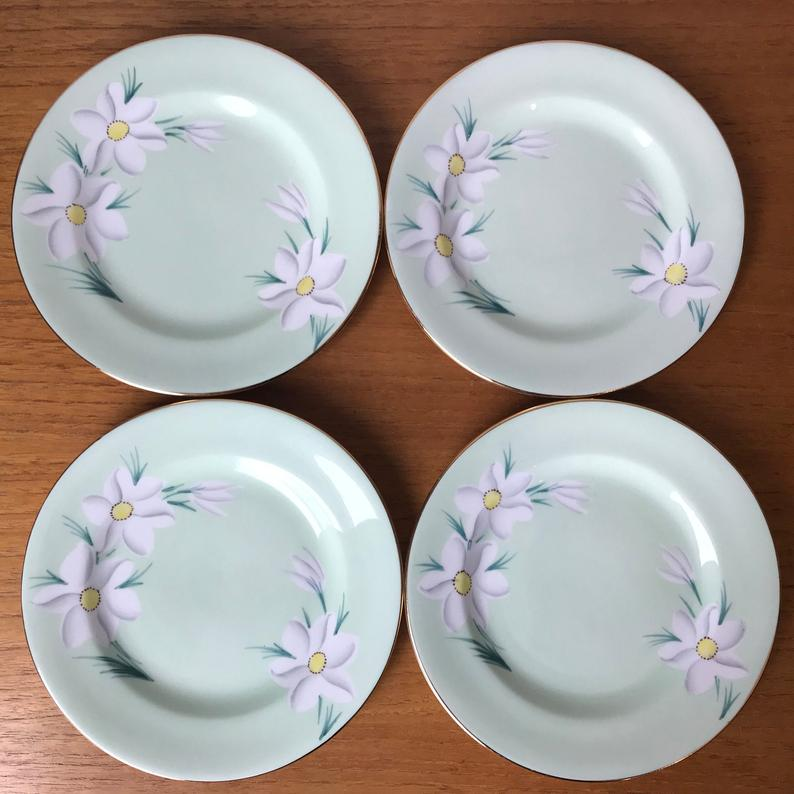 Vintage Royal Grafton Side Plates, Light Mint Green Plates, White Flower Bread and Butter Dishes, Bone China Plates